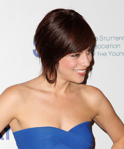 Krysta Rodriguez Medium Straight Casual  with Side Swept Bangs - Dark Red (Mahogany) - side view
