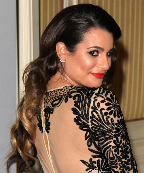 Lea Michele Long Wavy Hairstyle - Dark Brunette - side view 1