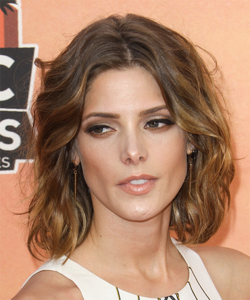 Ashley Greene Medium Wavy Hairstyle - Medium Brunette (Chestnut) - side view