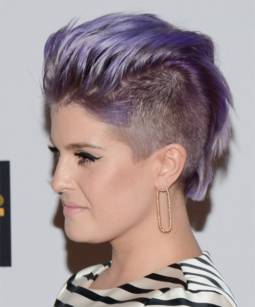 Kelly Osbourne Short Straight Emo Hairstyle - Purple - side view