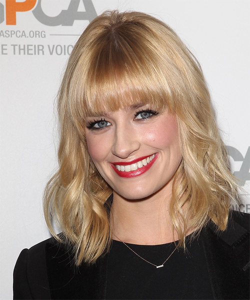 Beth Behrs Medium Wavy Hairstyle - Light Blonde (Honey) - side view