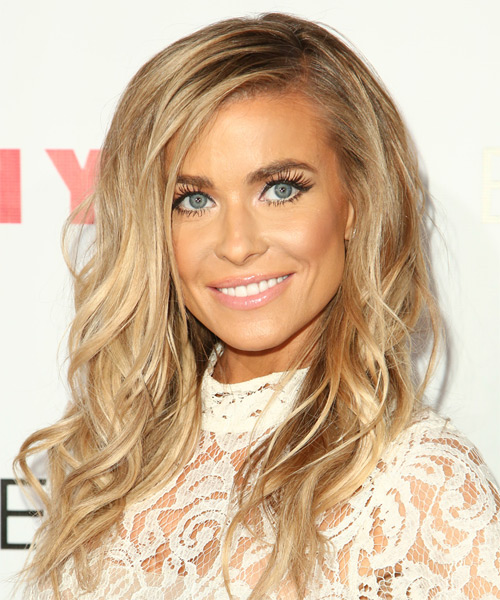 Carmen Electra Long Wavy Casual Hairstyle - Medium Blonde (Golden) Hair Color - side view
