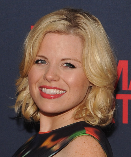 Megan Hilty Medium Wavy Hairstyle - Medium Blonde (Honey) - side view