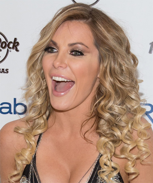 Crystal Hefner Long Curly Hairstyle - Medium Blonde - side view