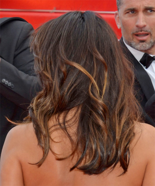 Eva Longoria Long Wavy Casual Hairstyle - Dark Brunette Hair Color - side view