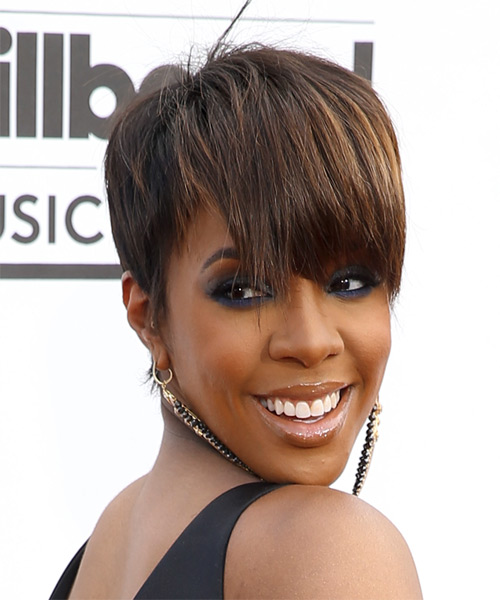 Kelly Rowland Short Straight Formal  with Layered Bangs - Medium Brunette - side view