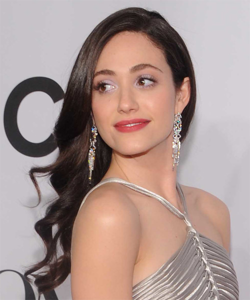 Emmy Rossum Long Wavy Hairstyle (Mocha) - side view 1