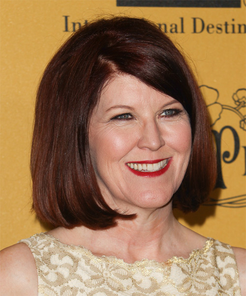Kate Flannery Medium Straight Casual Bob Hairstyle with Side Swept Bangs - Dark Red (Mahogany) Hair Color - side view