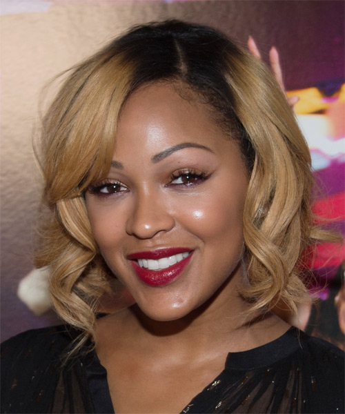 Meagan Good Medium Wavy Hairstyle - Dark Blonde - side view 1