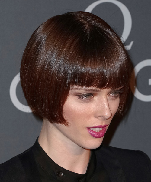 Coco Rocha Short Straight Formal Bob Hairstyle with Blunt Cut Bangs - Dark Brunette Hair Color - side view