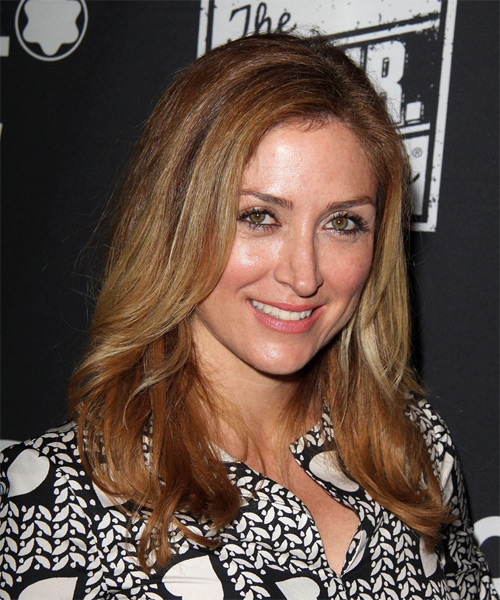 Sasha Alexander - Straight  Long Straight Hairstyle - Dark Blonde (Copper) - side view 1