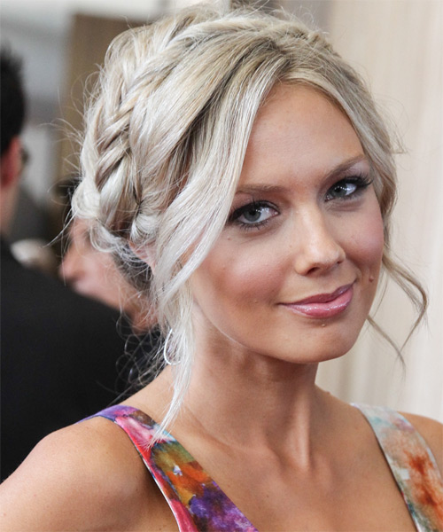 Melissa Ordway Casual Curly Updo Braided Hairstyle - Light Blonde (Champagne) - side view 1