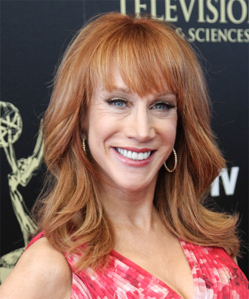 Kathy Griffin Long Straight Casual Hairstyle with Blunt Cut Bangs - Light Red (Copper) Hair Color - side view
