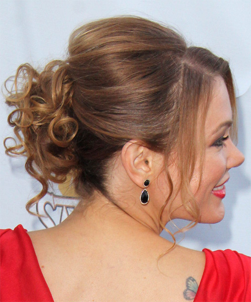 Maitland Ward Curly Formal Updo Hairstyle with Side Swept Bangs - Light Brunette Hair Color - side view