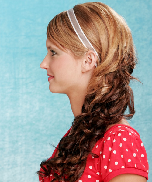 Half Up Long Curly Casual Hairstyle - Dark Blonde (Copper) - side view 1