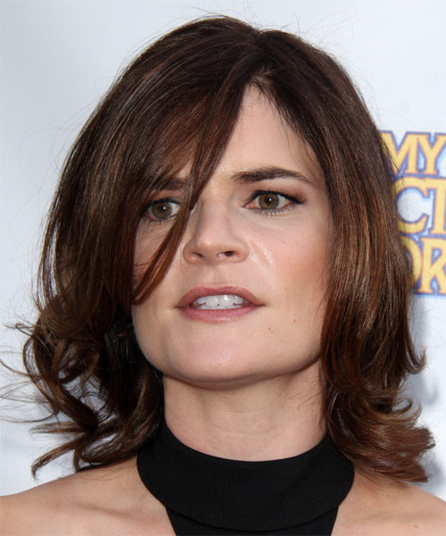 Betsy Brandt Medium Wavy Formal Hairstyle with Side Swept Bangs - Dark Brunette Hair Color - side view