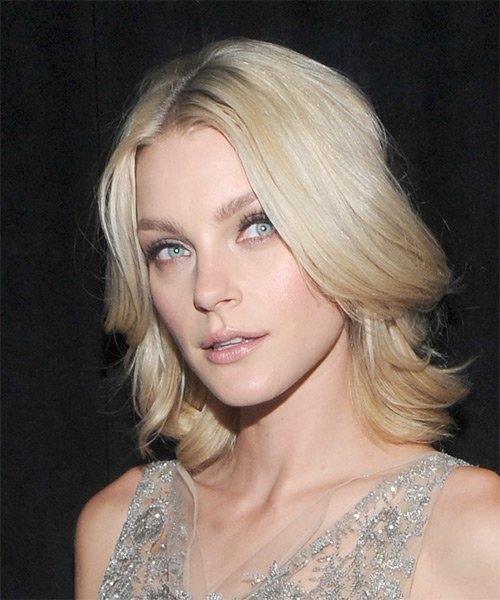 Jessica Stam Medium Straight Hairstyle - Light Blonde - side view