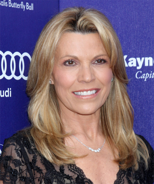 Vanna White Long Straight Hairstyle - Medium Blonde - side view