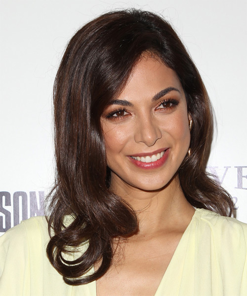 Moran Atias Long Wavy Hairstyle - Dark Brunette (Mocha) - side view 1