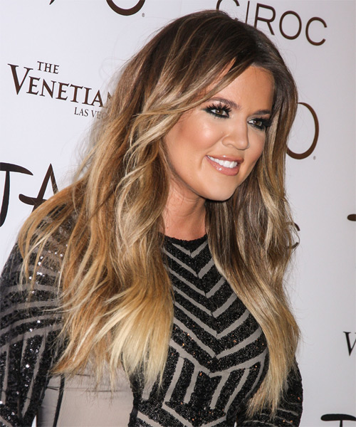 Khloe Kardashian Long Straight Casual Hairstyle - Light Brunette Hair Color - side view