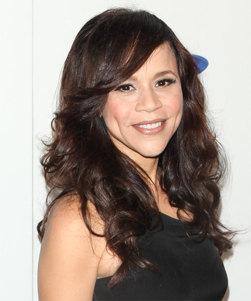 Rosie Perez Long Wavy Hairstyle - Medium Brunette (Chocolate) - side view