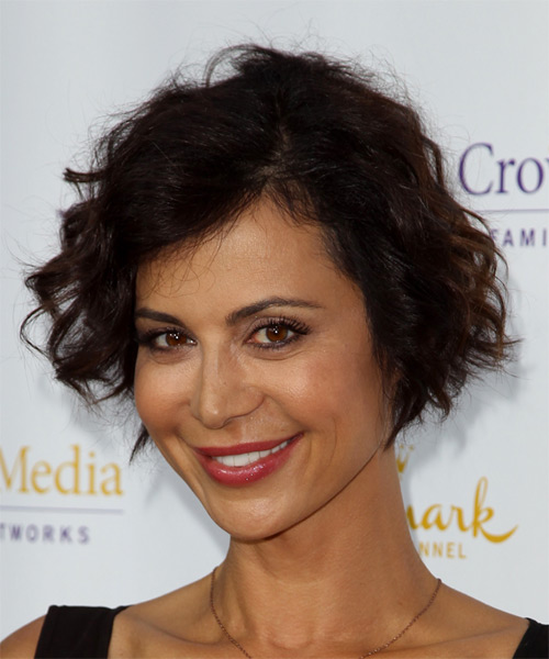 Catherine Bell Short Wavy Casual Hairstyle - Dark Brunette (Chocolate) Hair Color - side view