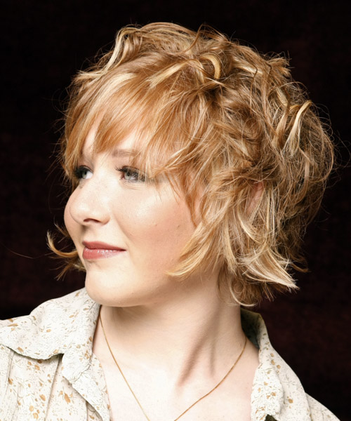 Medium Wavy Casual Hairstyle with Layered Bangs - Dark Blonde (Golden) Hair Color - side view