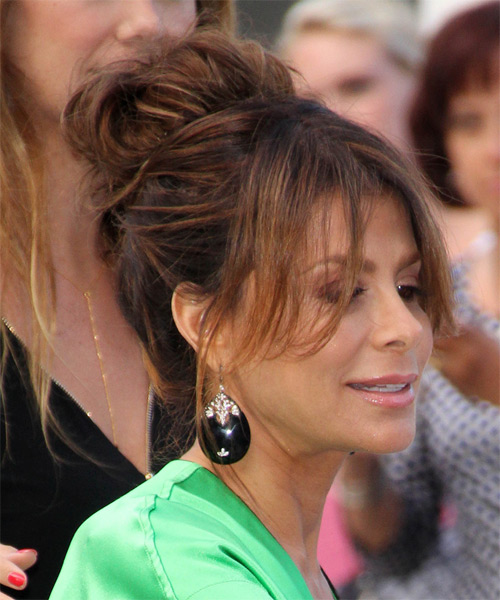 Paula Abdul Casual Straight Updo Hairstyle - Medium Brunette (Chocolate) - side view 1