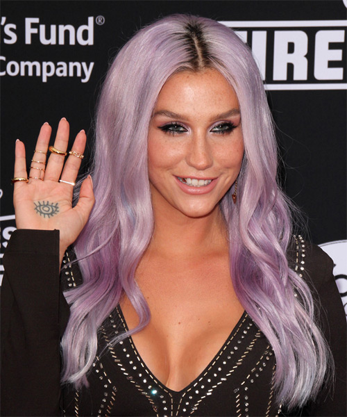 Kesha Long Wavy Hairstyle - Purple - side view