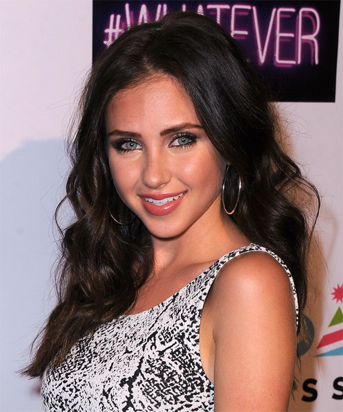 Ryan Newman Long Wavy Hairstyle - Dark Brunette (Mocha) - side view 1