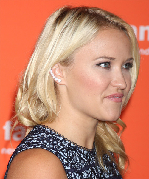 Emily Osment Medium Straight Hairstyle - Light Blonde - side view