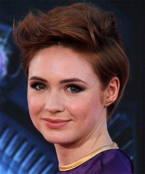 Karen Gillan Short Straight Casual Hairstyle - Dark Red Hair Color - side view