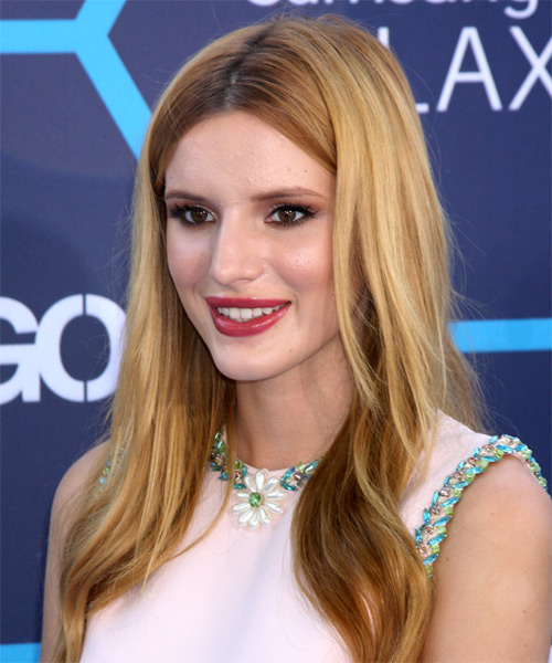 Bella Thorne Long Straight Casual Hairstyle - Medium Blonde Hair Color - side view