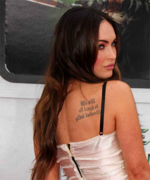 Megan Fox Long Straight Casual Hairstyle - Medium Brunette Hair Color - side view