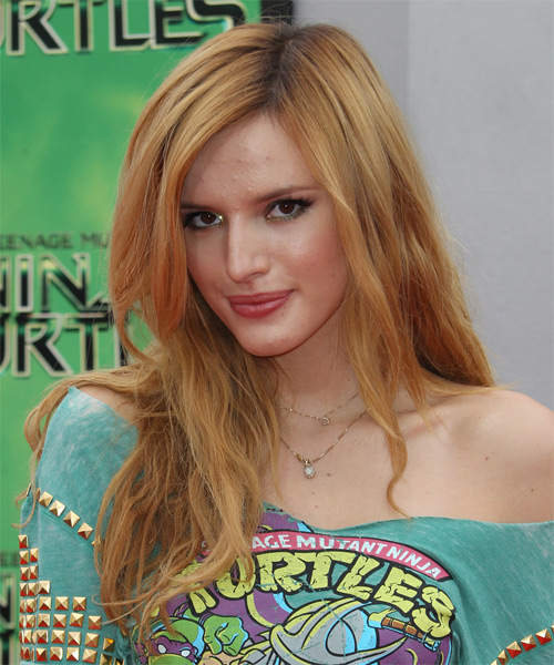 Bella Thorne Long Straight Casual  - Medium Red (Copper) - side view