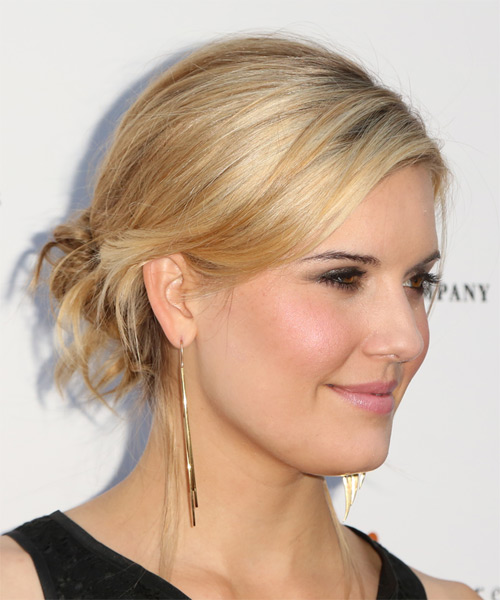 Maggie Grace Straight Casual Updo Hairstyle - Medium Blonde Hair Color - side view