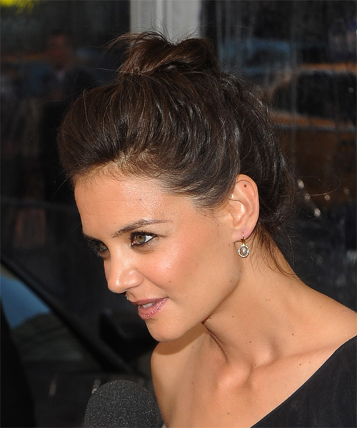 Katie Holmes Straight Casual Updo Hairstyle - Dark Brunette Hair Color - side view