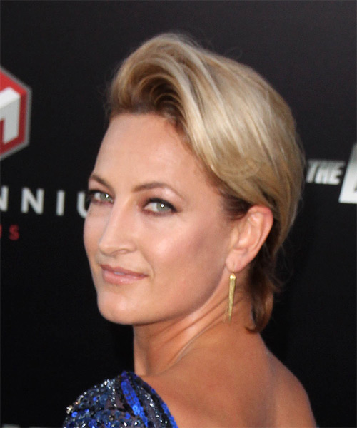 Zoe Bell Short Straight Hairstyle - Dark Blonde - side view 1