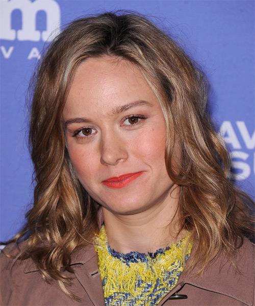 Brie Larson Medium Wavy Hairstyle - Medium Brunette (Caramel) - side view