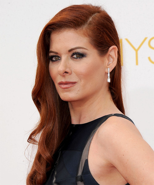 Debra Messing Long Straight Formal  - Medium Red (Strawberry) - side view