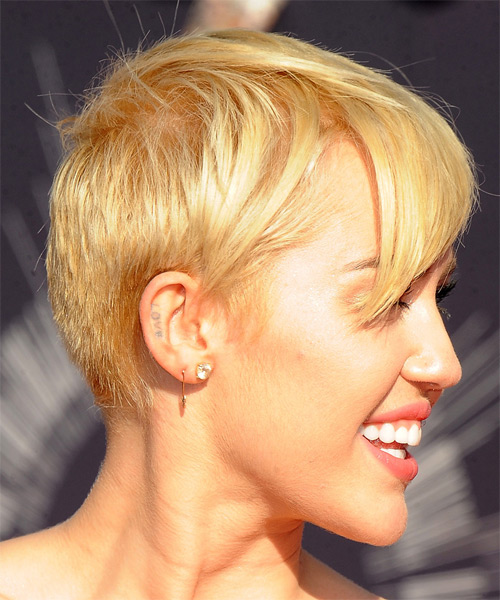 Miley Cyrus Short Straight Hairstyle - Medium Blonde (Honey) - side ...