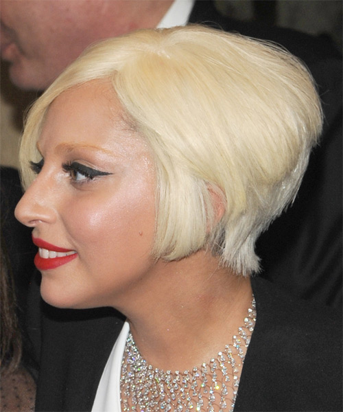 Lady Gaga Short Straight Formal Hairstyle - Light Blonde - side view