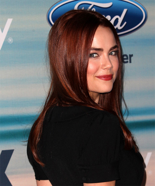 Rebecca Rittenhouse Long Straight Formal  - Dark Red - side view