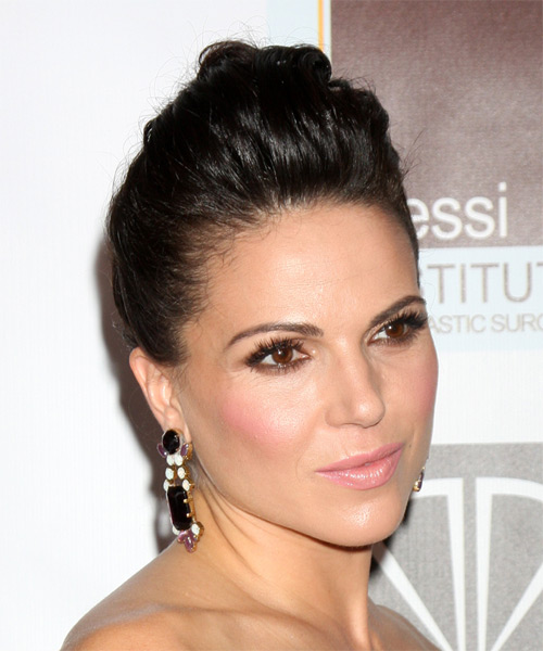 Lana Parrilla Updo Long Straight Formal Wedding - Dark Brunette - side view