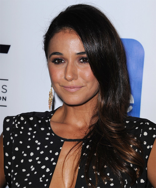 Emmanuelle Chriqui Long Straight Formal Hairstyle - Dark Brunette - side view