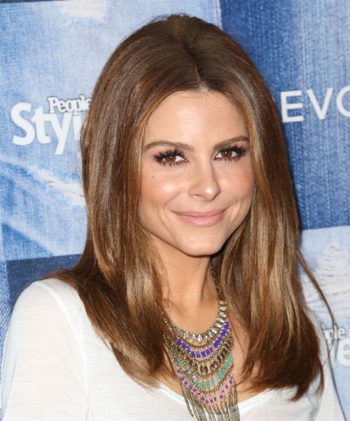 Maria Menounos Long Straight Formal  - Medium Brunette (Chestnut) - side view