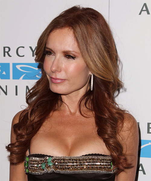 Tracey Bregman Long Wavy Formal Hairstyle - Dark Red Hair Color - side view