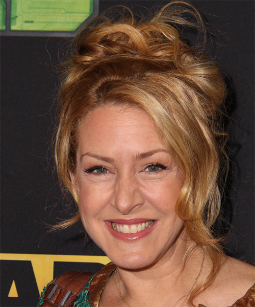 Joely Fisher Updo Long Curly Casual Wedding - Dark Blonde (Copper) - side view