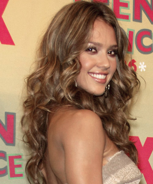 Jessica Alba Long Curly Casual Hairstyle - side on view