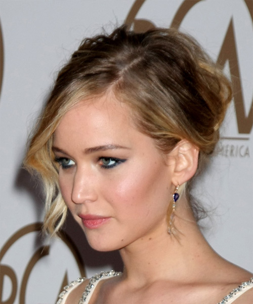 jennifer lawrence medium wavy casual updo hairstyle